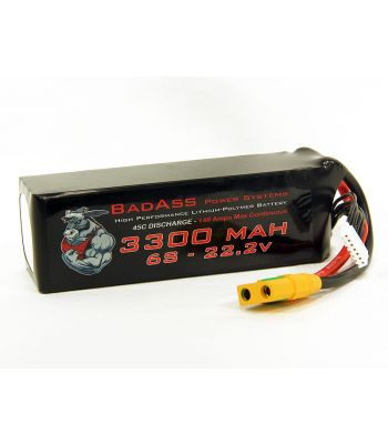 BadAss 45C 3300mah 6S LiPo Battery